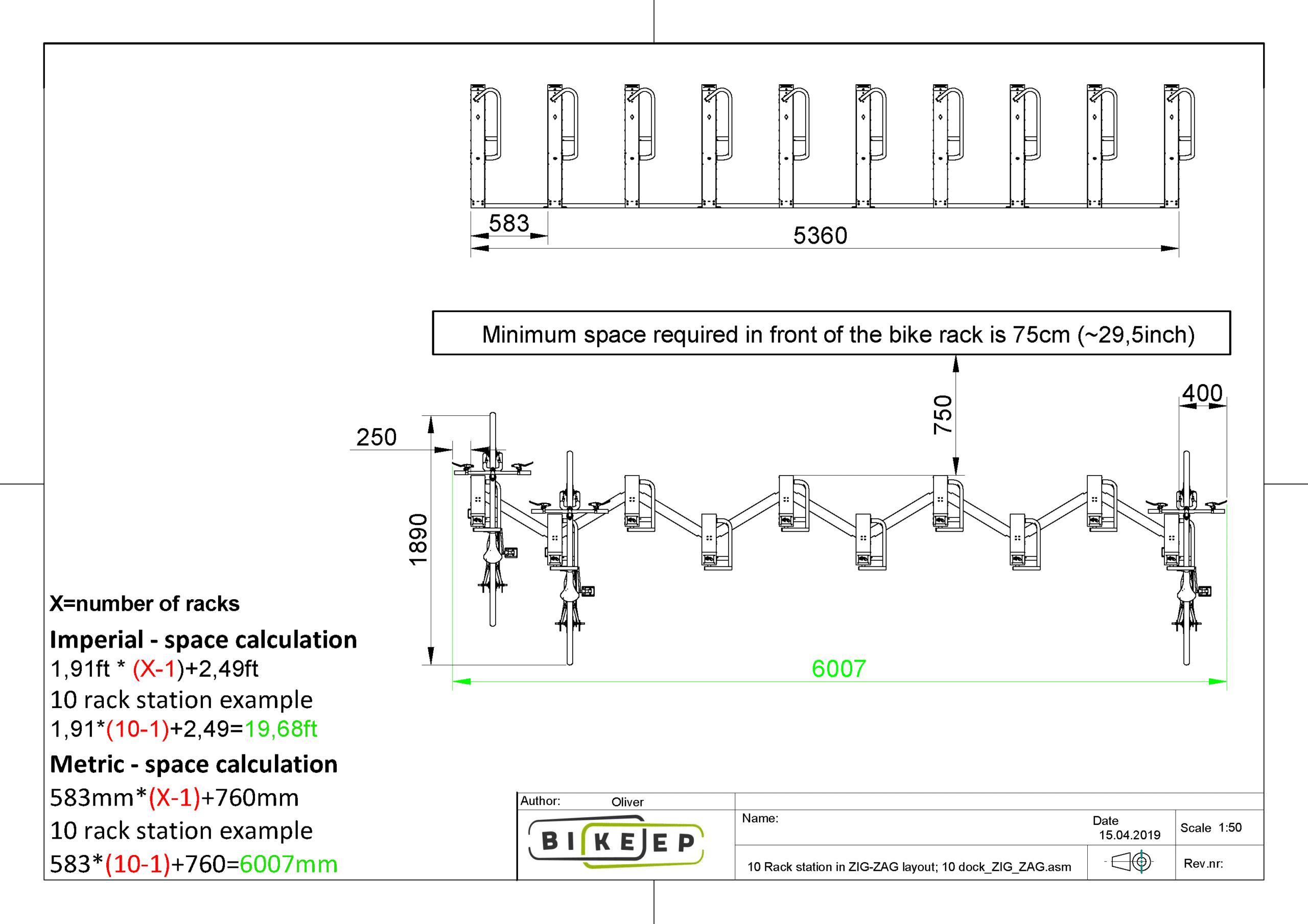 Bike Rack station in ZIG-ZAG layout