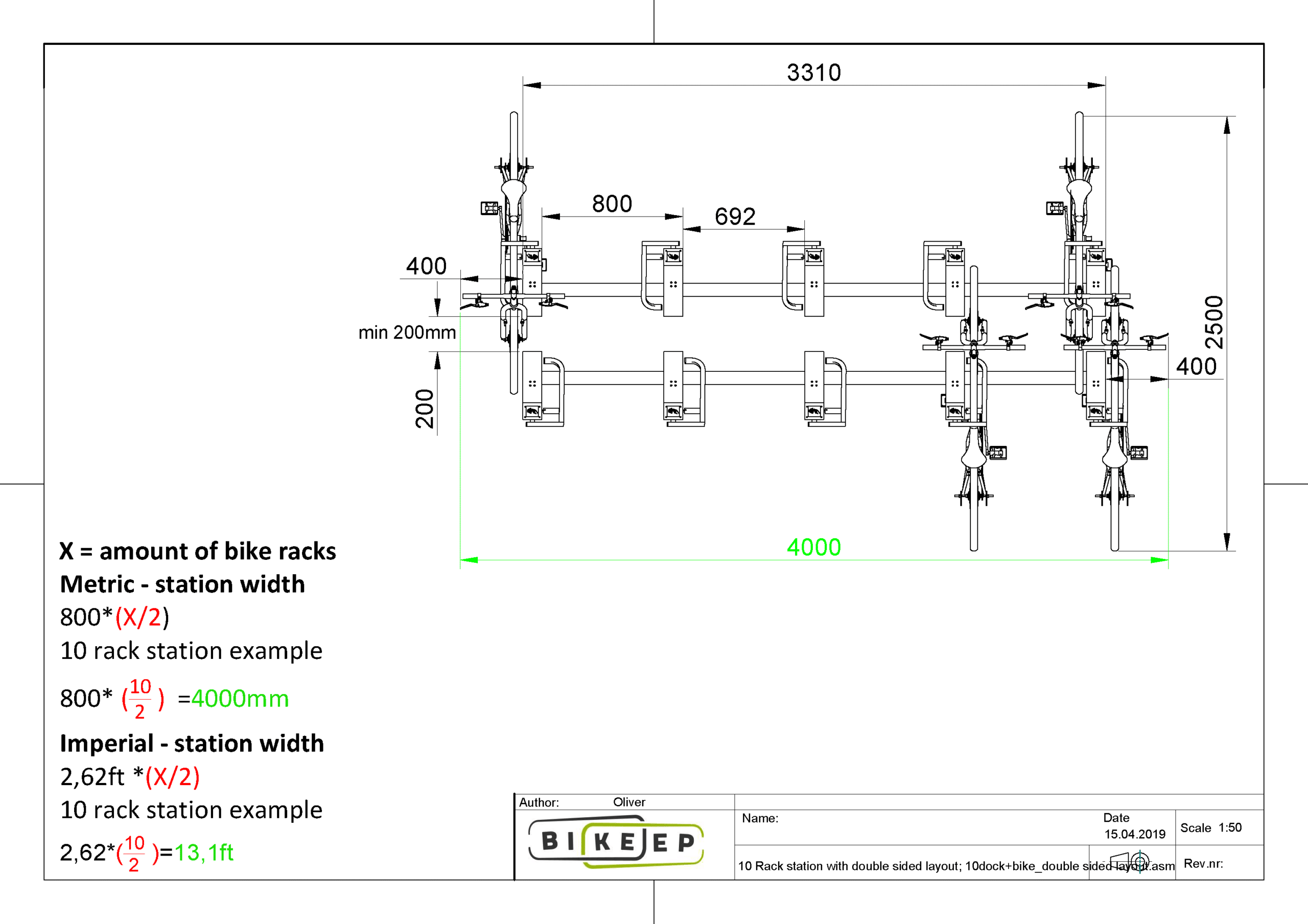 Rack station with double sided layout