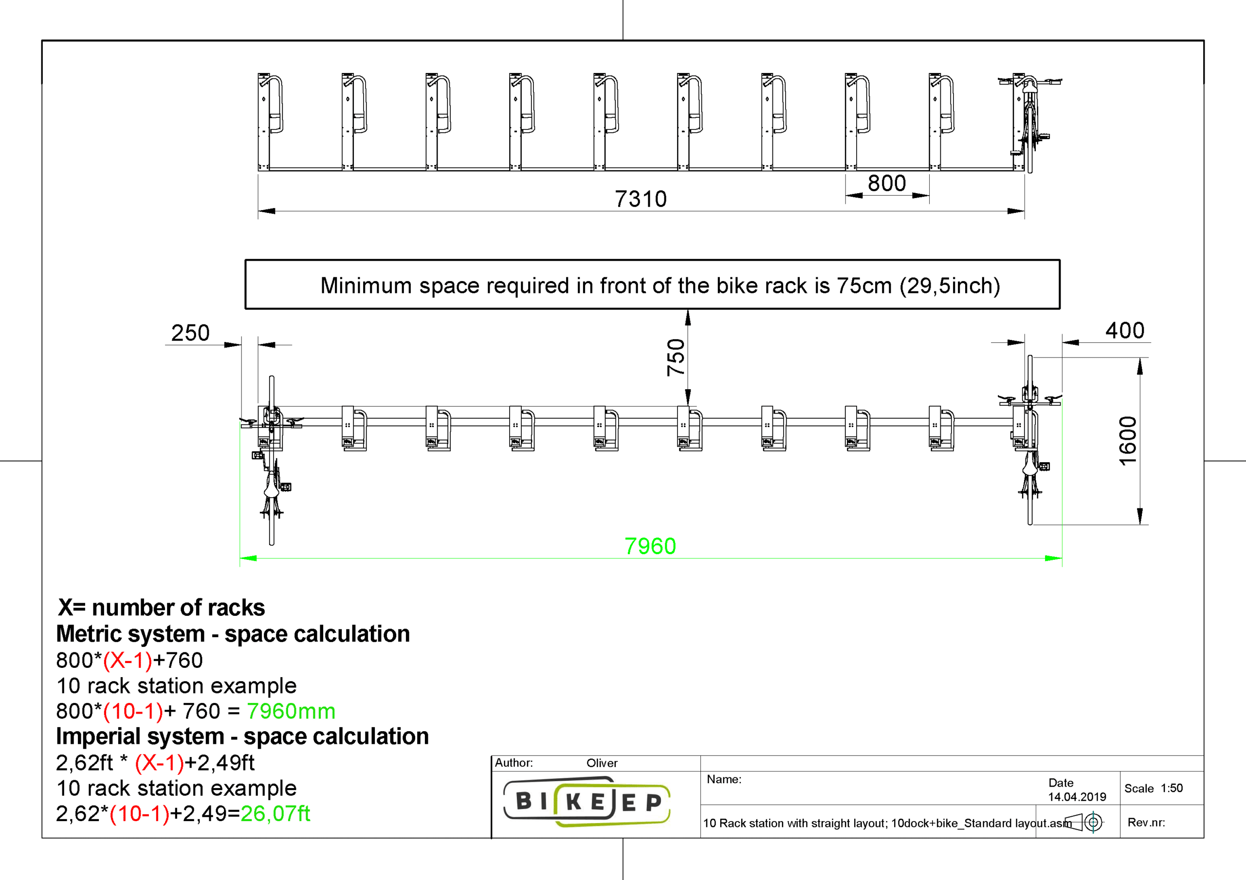 10 Rack station with straight layout