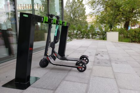 E-scooter station in action