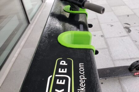Close-up of e-scooter station