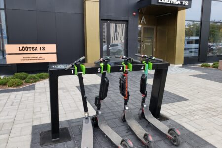 E-scooter station in front of an office building