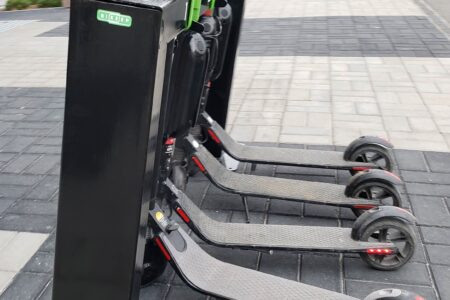 Side view of our new e-scooter station