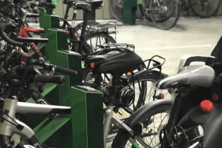 Busy bicycle parking place