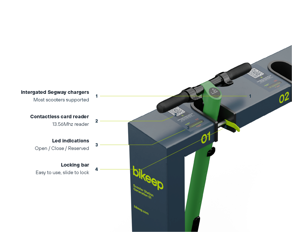 E-scooter locking and charging