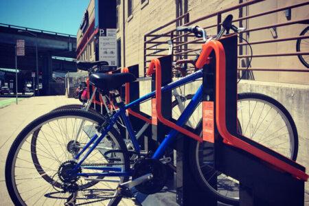 Orange bike parking place
