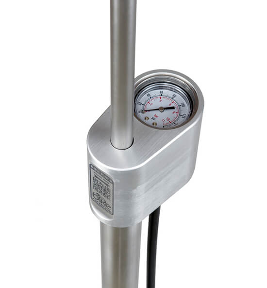 Outdoor public bike pump with gauge