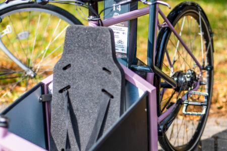 Cargo bike parked in Bikeep