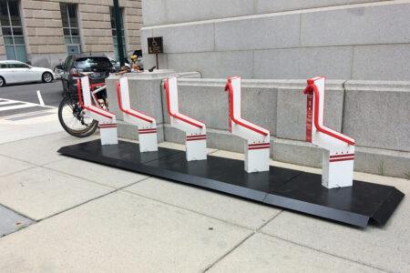 Red stylish bike park place