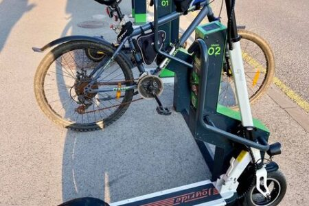 scooter parking in bike rack