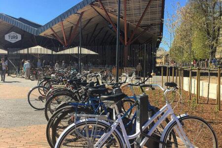 Secure bike parking near public market