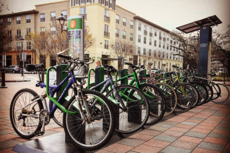 Solar powered bike rack in city center