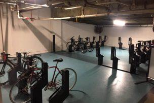 Space saving bike rack in garage