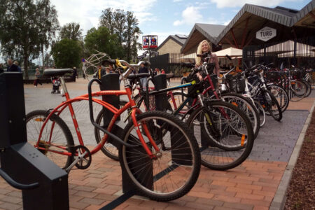 Steel and frame locked bike parking